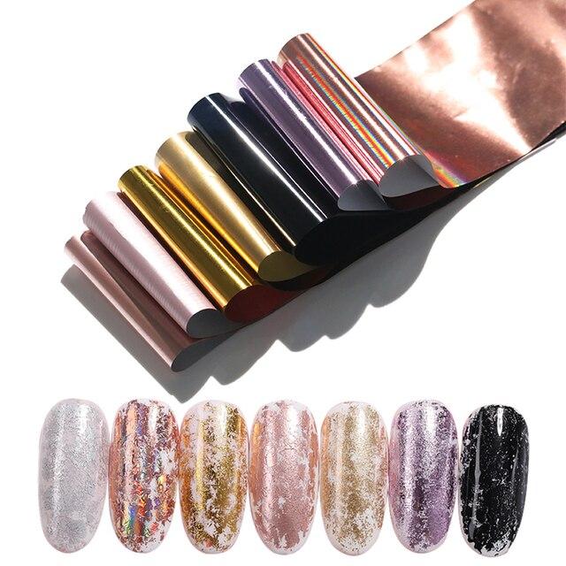 7 colores/Kit de holográfica clavo láminas Champagne oro rosa arte de uñas transferencia pegatinas DIY manicura diseño