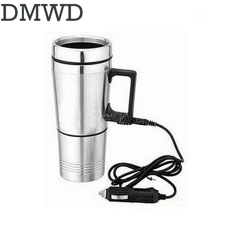 DMWD Auto electric bottle Portable car hot Water Heater cup Travel heating kettle teapot Stainless steel Coffee Tea Mug 12V 24V 348ml car heating cup stainless steel dc12v car heated travel mug thermos heating cup kettle car coffee cup auto adapter