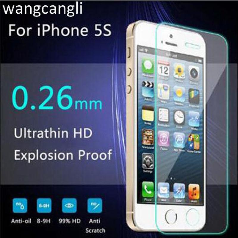 bilder für Wangcangli 100 stücke 0,3mm für iphone5 5 s 5c gehärtetem glas für iphone 5 5 s 9 h fest 2.5d displayschutzfolie + reinigung werkzeuge