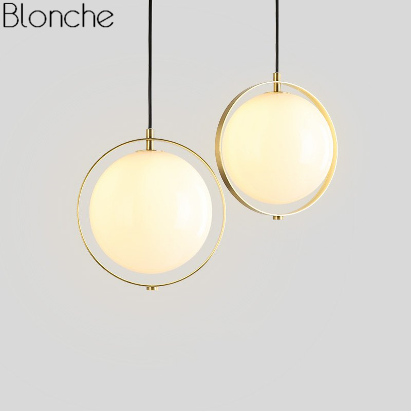Nordic Glass Ball Pendant Lights Modern Led Gold Hanglamp Industrial Home Decor Fixtures Bedroom Kitchen Stair Lamp Luminaire