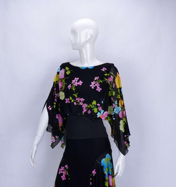 Danse de salon danse moderne col rond manches chauve-souris taille conique style chemise d'exercice blouse T14016