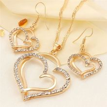hot deal buy new fashion jewelry sets romantic double love heart necklace earring wedding jewelery for women pendant necklaces jewelry set