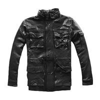 2019 черный Для мужчин военные M65 кожаная куртка стоять воротник плюс Размеры XXXL Slim Fit овчины русский кожаные пальто Бесплатная доставка