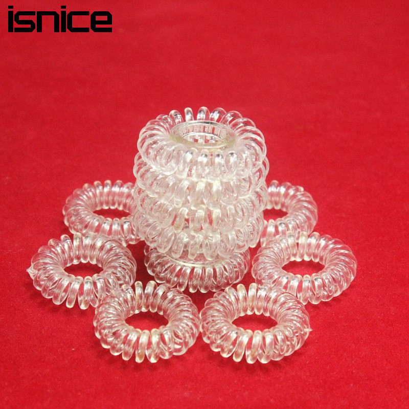 isnice 12pcs Transparent Popular hairwear candy-colored telephone wire hair band hair rope wholesale hair accessories for women