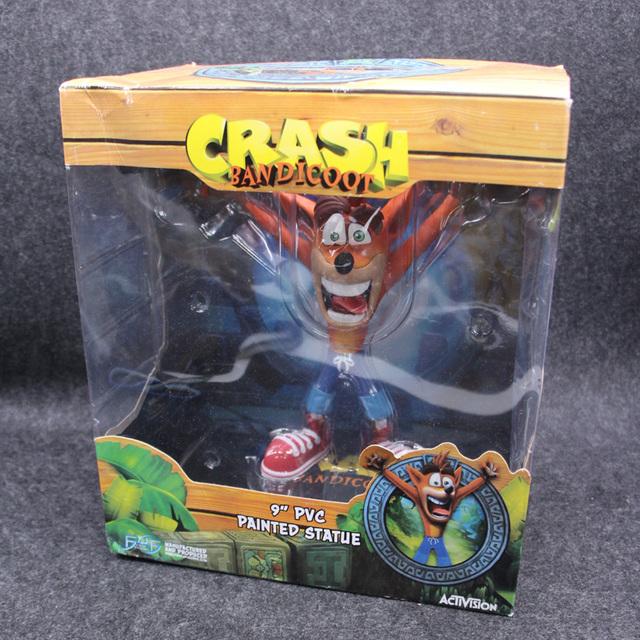 "Anime Crash Bandicoot Action Figure Game Crash 9"" PVC Painted Statue Activision ACT PVC Collectible Model Toys 22.5cm"