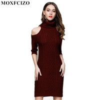 Knitting Sweater Women Dress Sexy Tunic Office Dress Off Shoulder Skinny Robe Femme Pencil Dress Ropa