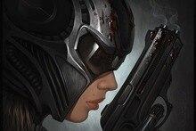 anime mysterious girls killer gun blood brunette Home Decoration Canvas Poster