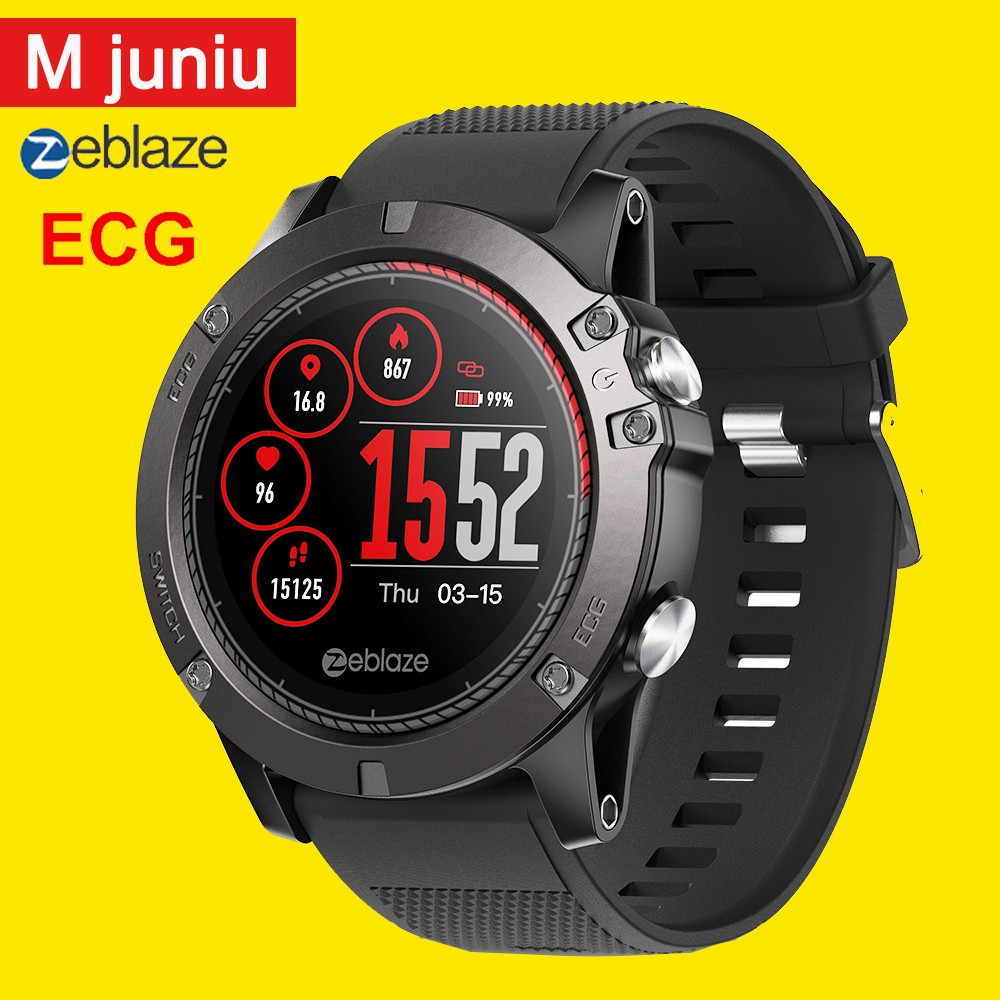 2019 Zeblaze Vibe 3 ECG Smart watch 33 month Standby Time 24h All weather Monitoring Smart