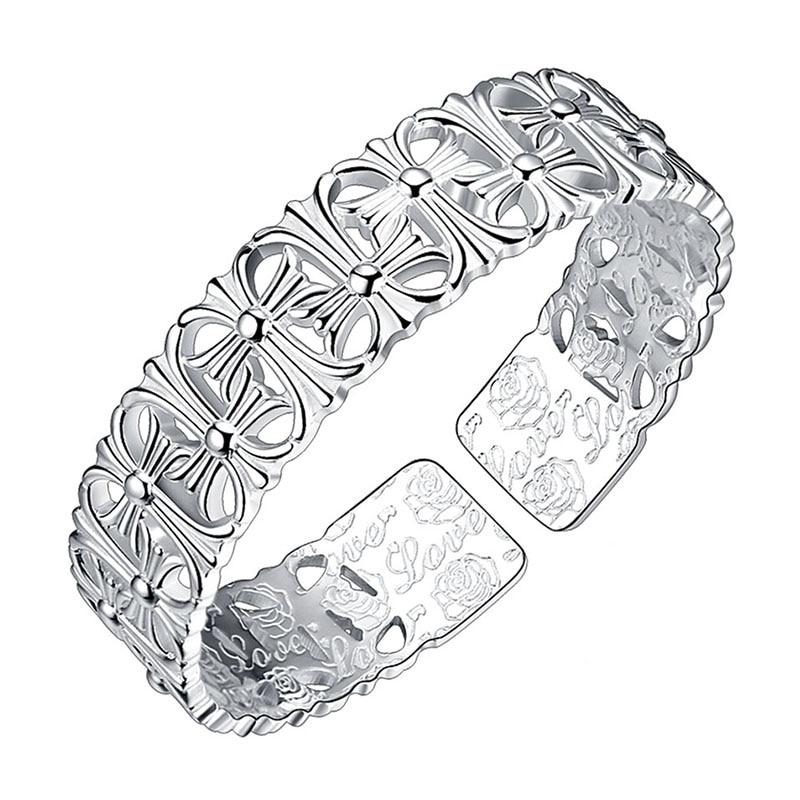 Robira New Lady Fashion Bangle 999 Fine Silver Bangle Bracelet Female Hollow Cross Thanksgiving Opening Cuff Bracelet Bracelet все цены
