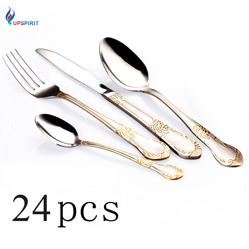 Upspirit 24pcs Gold Plated Cutlery Set Dinner Knives Fork Set Stainless Steel Novelty Flatware Dinnerware Tableware Dinner Set