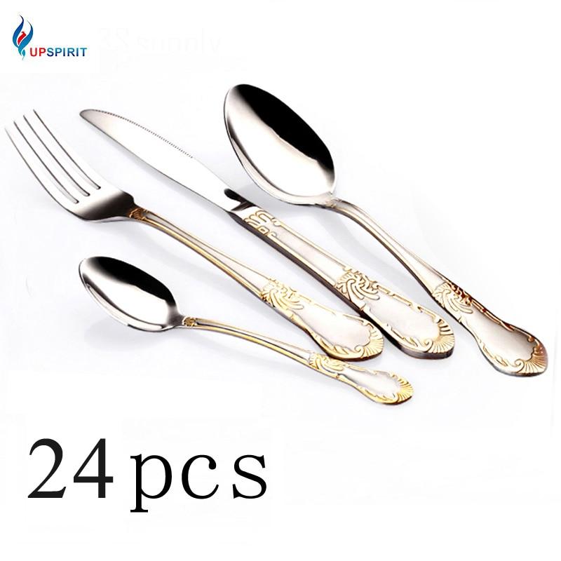 Upspirit 24pcs Gold Plated Cutlery Set Dinner Knives Fork Set Stainless Steel Novelty Flatware Dinnerware Tableware Dinner Set