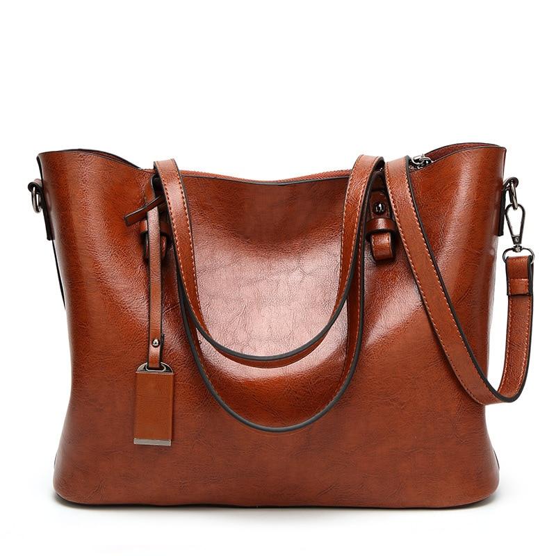 Women\'S Shoulder Bags Retro Wax PU Women Leather Handbag Top Handles Bag Lady Purse Handbags Designer