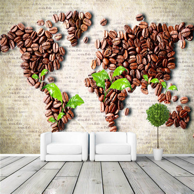 Buy coffee beans map wall mural unique design photo wallpape - Decoration mural design ...