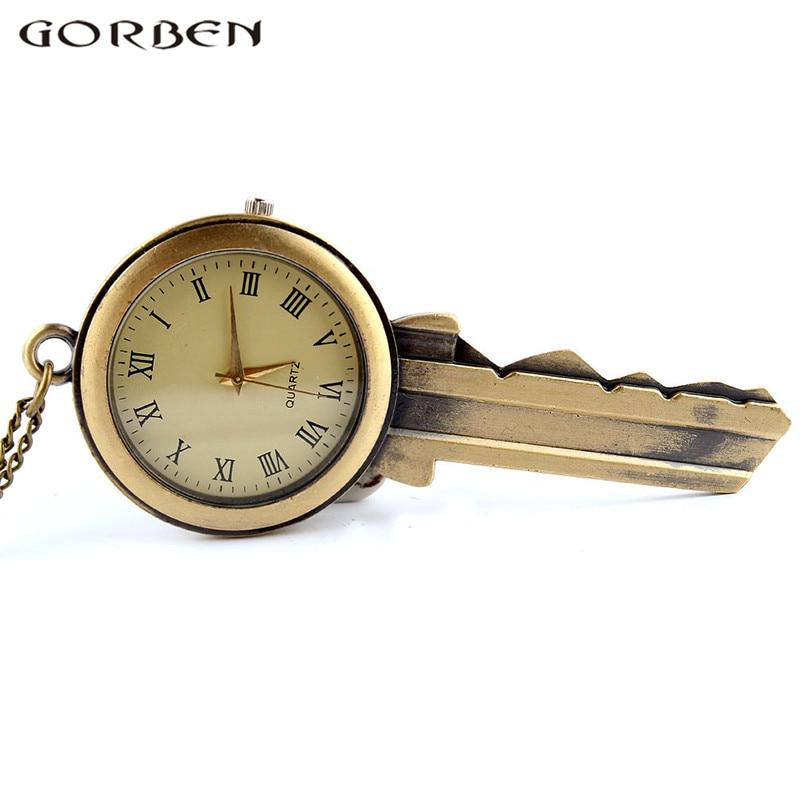 Gorben Watch Copper Vintage Key Shape Quartz Pocket Watch Roman Number Necklace Pendant Men Women Pocket Watch Exquisite Gifts