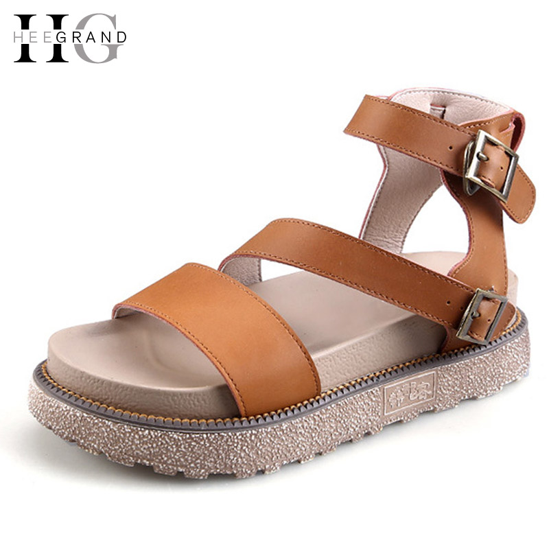 HEE GRAND Women Sandals 2017 New Summer Gladiator Sandals Platform Shoes Woman Ankle Strap Flats Ladies Shoes Size Plus XWZ3523 hee grand gold silver high heels 2017 summer gladiator sandals sexy platform shoes woman casual shoes size 35 43 xwz4075