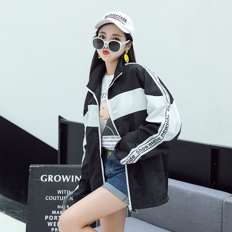 2018 Hot sale loose baseball jacket women print letter Korean fashion casual sty