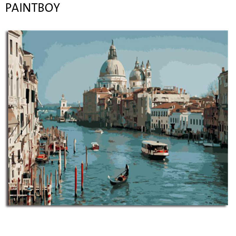 PAINTBOY Landscape Framed Pictures DIY Painting By Numbers Painting and Calligraphy Coloring By Numbers on Canvas