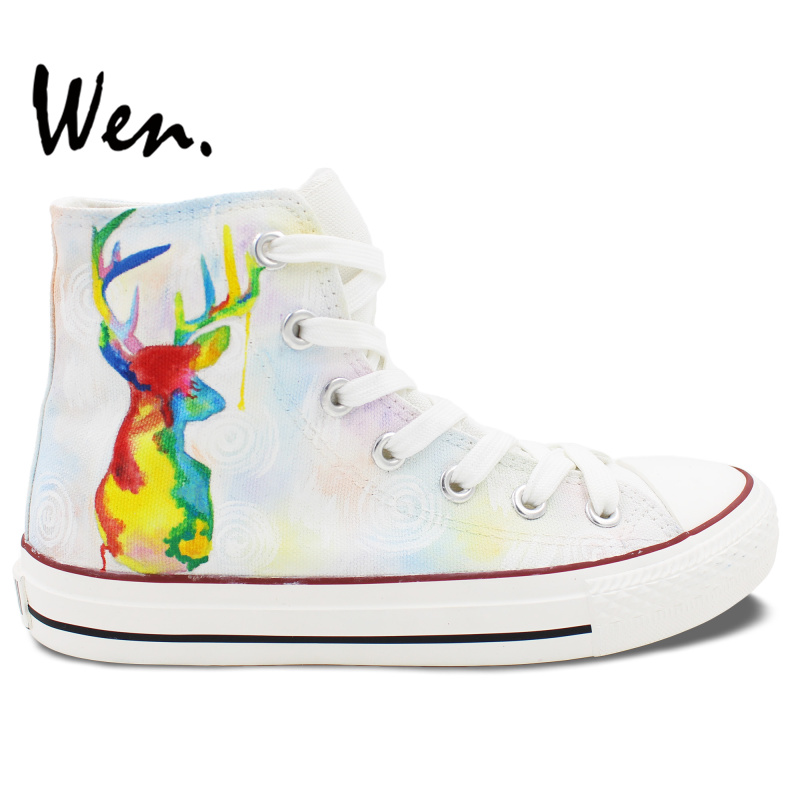 ФОТО Wen Original Hand Painted Shoes White High Top Colorful Deer Men Women's Canvas Sneakers For Presents