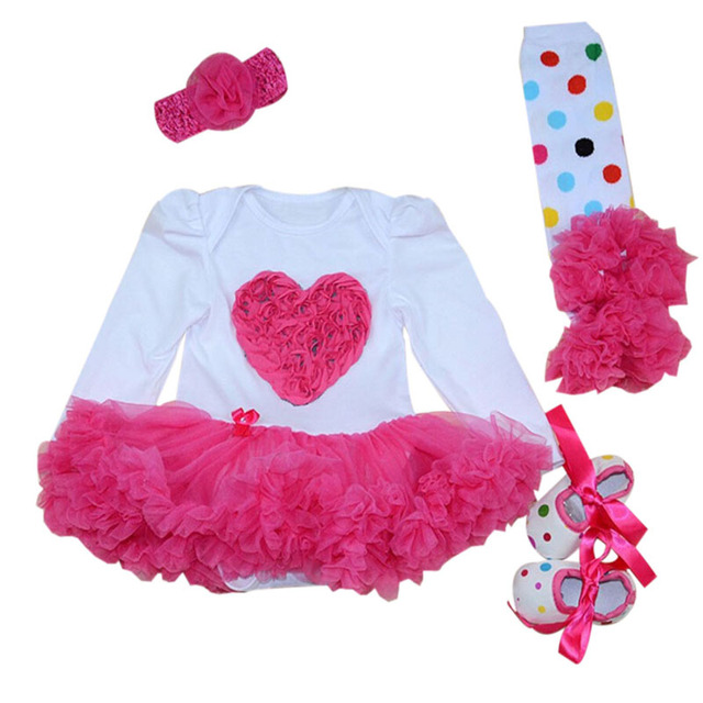 4PCs per Set Baby Girl Hot Pink Lace Love Tutu Dress Infant 1st Birthday Party Outfit Leg Warmers Shoes Headband