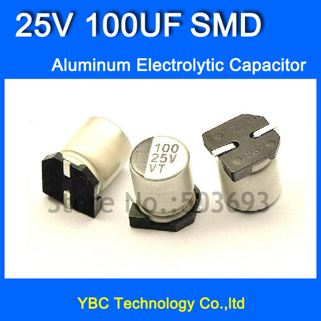 Free Shipping 100pcs/lot 25V <font><b>100UF</b></font> <font><b>SMD</b></font> Aluminum Electrolytic <font><b>Capacitor</b></font> 6*7MM image