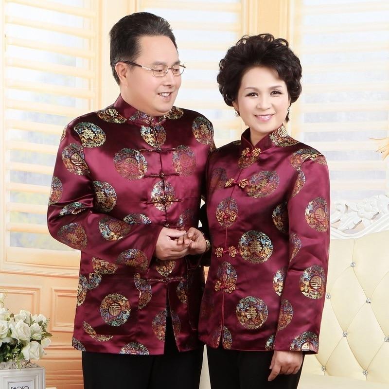 Men Women Traditional Chinese Clothing Dress Elderly Loose Coat Satin Cheongsam Top Winter Coat China National Wind Tops