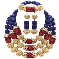 LAANC Brand Handmade Royal Blue Imitation Coral Fashion Women Wedding Jewelry Sets Neckalce Earrings Bracelet Sets 3C FSH 01