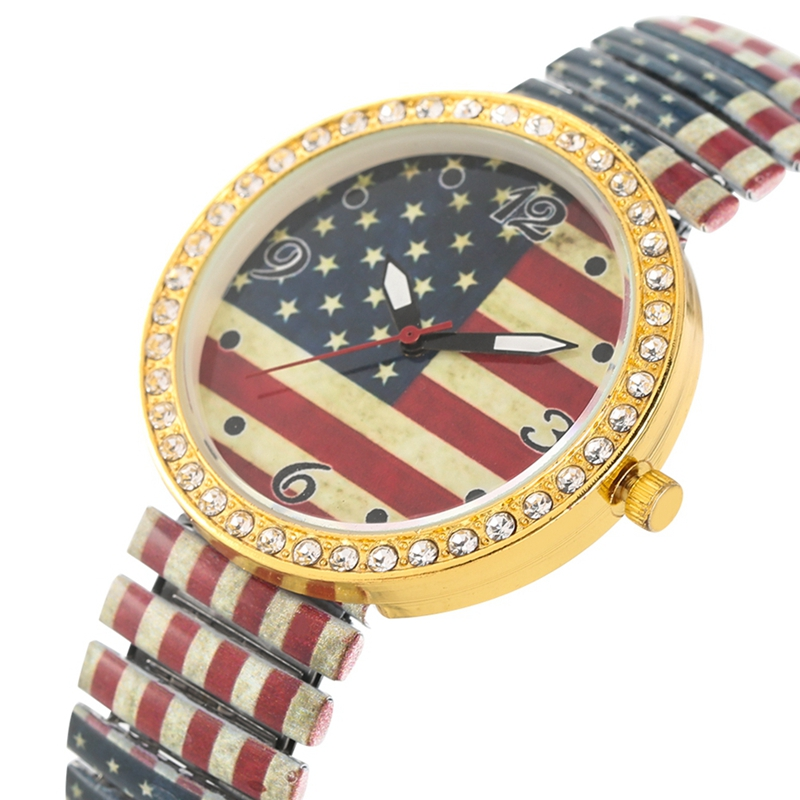 Vintage USA Flag American Watch For Women Crystal Diamond Quartz Fashion Elastic Band Ladies Dress Clock Female Luxury Reloj