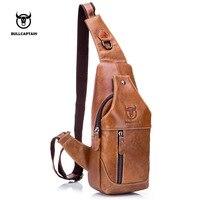BULL CAPTAIN 2017 Fashion Male Shoulder Bag Genuine Leather Crossbody Bags Small Brand Designer Men Casual