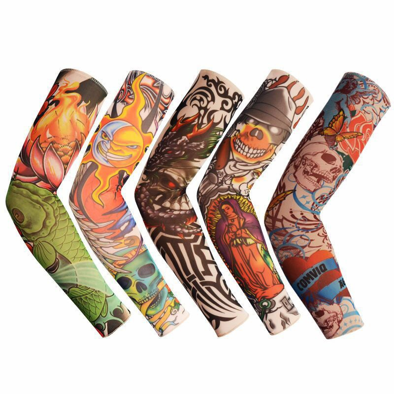 2Pc Nylon Tatoo Arm Sleeves For Sun Protection Elastic Fake Tattoo Sleeves For Men Women New Arrival