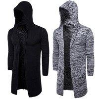 2018 Новая мода мужской кардиган свитера повседневное длинное пальто осень с капюшоном вязаные свитера пальто мужской вышивка кардиган