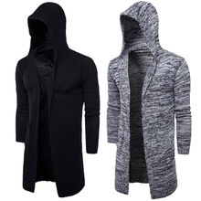 2019 New Fashion Mens Cardigan Sweaters Casual Long Coat Autumn Hooded Knitted Sweaters Sweatercoats Male Embroidery Cardigan