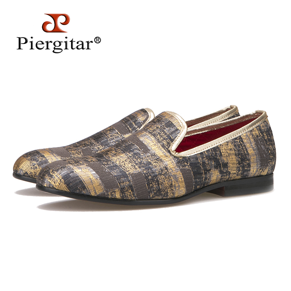 Piergitar 2016 New Two Color Painting style Men Smoking Slipper Men Fashion Plus Size Prom Loafers Men Casual Flats Size US 4-17 piergitar 2017 new handmade men loafers with tie design fashion prom and banquest men smoking slippers plus size male flats