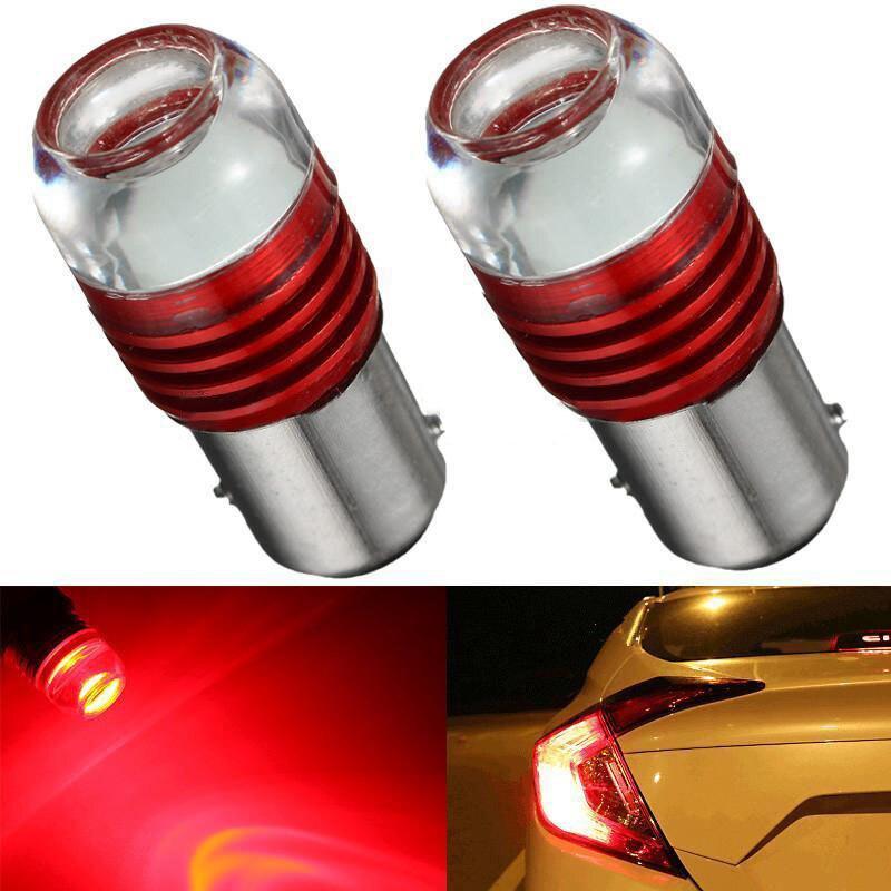 2pcs Strobe Flashing Red 1157 2357 6W Auto LED Projector Bulb Car Tail Backup Light Lights Lamp DC 12V