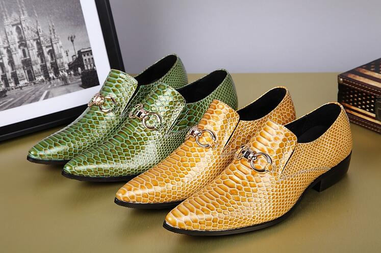 Genuine Leather Formal Business Men Oxfords Shoes Wedding Party Serpentine Shoes Luxury Brand Men Dress Shoes yellow greenGenuine Leather Formal Business Men Oxfords Shoes Wedding Party Serpentine Shoes Luxury Brand Men Dress Shoes yellow green