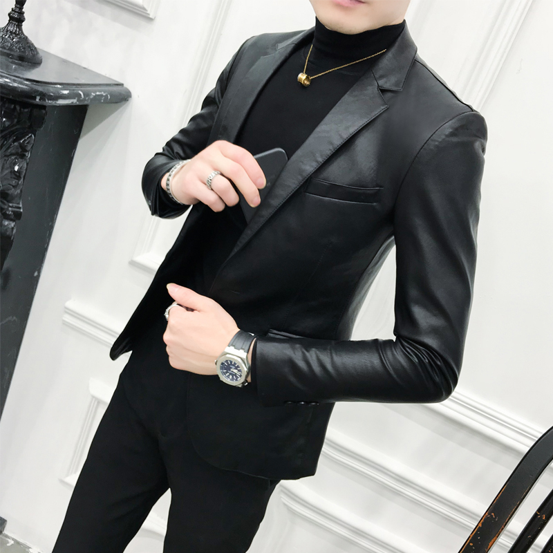 Solid Black Slim Fit Blazer Hombre PU Leather Jacket Men One Button Business Casual Prom Blazers For Men Korean Suit Coat