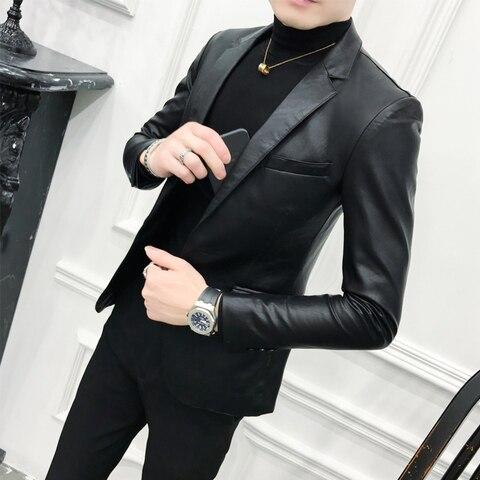 Solid Black Slim Fit Blazer Hombre PU Leather Jacket Men One Button Business Casual Prom Blazers For Men Korean Suit Coat Pakistan
