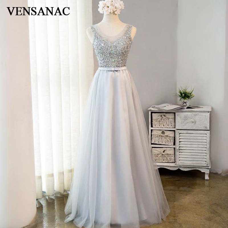 VENSANAC 2018 Elegant Crystals Sheer O Neck A Line Long Evening Dresses Lace Tank Party Open Back Bow Sash Prom Gowns in Evening Dresses from Weddings Events
