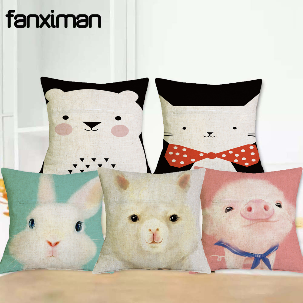 New Hot Throw Pillow Cover 3 D Cat Bunny Alpaca Print Cotton Linen Cartoon Cushion Cover For Bed Sofa 45cm*45cm Pillowcases