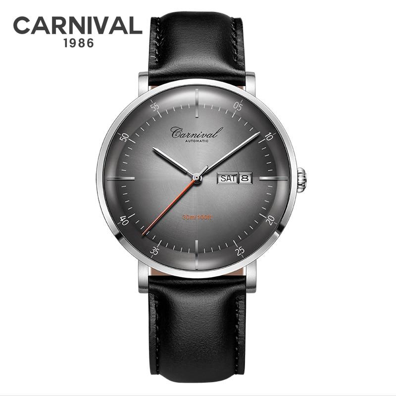 Fashion Ultra thin Mechanical Watch Men CARNIVAL Automatic Watch Self Wind MIYOTA Movement Leather Band Calendar