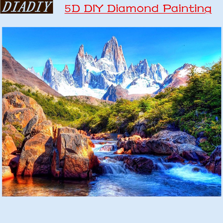 Diamond embroidery landscape rivers Embroidery with crystals Mountain Hobbies diamond mosaic naturally Beadwork kits Decorative