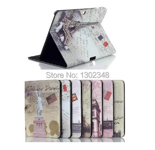 Luxury Retro Landmarks Pattern Magnetic Stand Leather Skin Shell Cover Tablet Case for Samsung Galaxy Tab 4 10.1 T530 T531 T535 steelie magnetic tablet socket