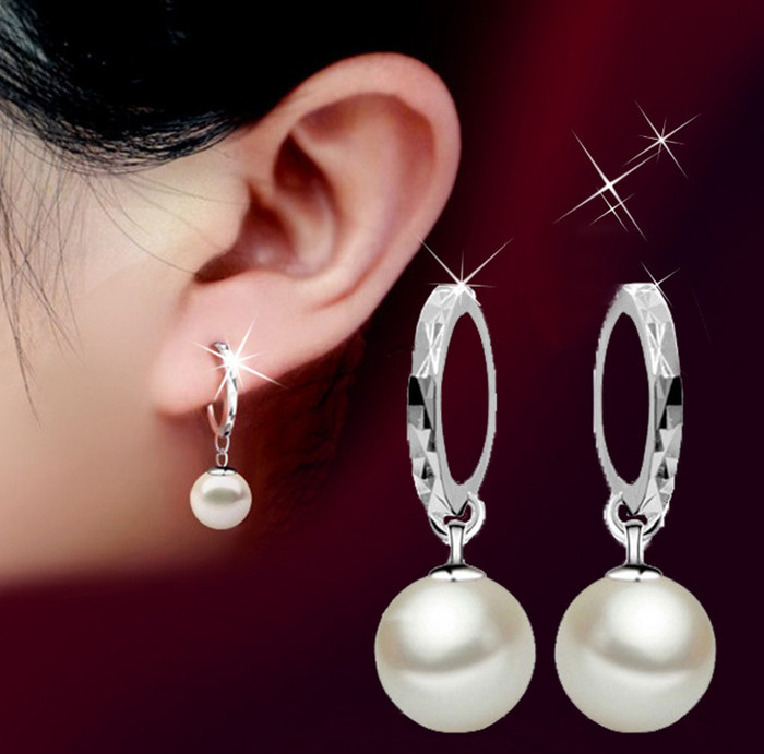 Silver plated shell pearl earrings jewelry wholesale flower hoop ...