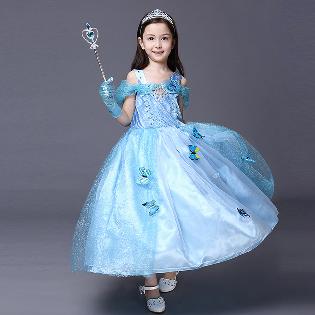 cf952cd9b63 Brand High Quality Christmas Princess Cosplay Costumes Clothing Frozen  Beauty Elsa Dress White Snow Girls' Party Dress 3Y-10Y