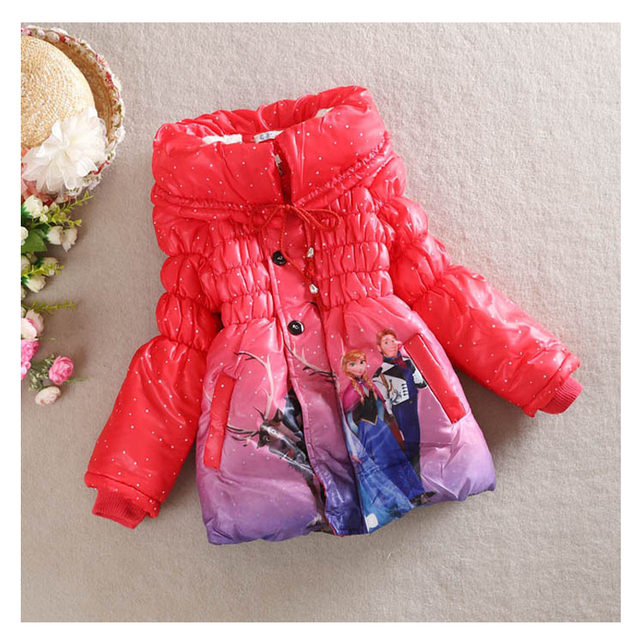The new year 2016 autumn and winter cotton padded clothes / coat / girl clothes 4-7 old girls fashion cartoon clothing design DJ