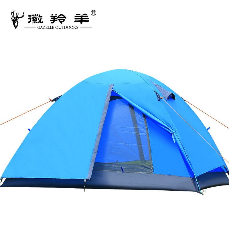 Double Tent 2 Person Outdoor Camping Tent Aluminum Pole Tent 200x150x110cm high quality outdoor 2 person camping tent double layer aluminum rod ultralight tent with snow skirt oneroad windsnow 2 plus
