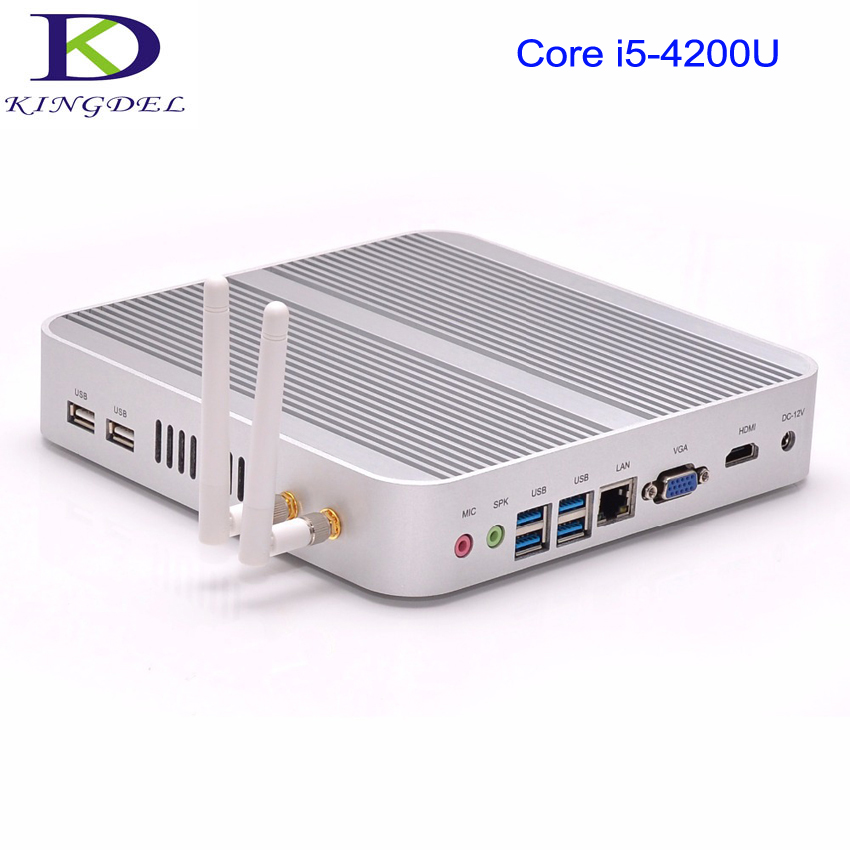Kingdel Fanless Mini Computer HTPC Micro PC with Intel Haswell i5 4200U CPU 8GB RAM 256GB