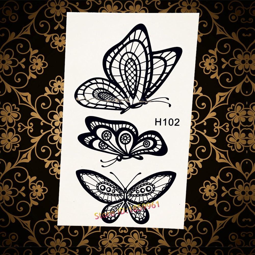 Temporary Black Henna Tattoo: Removable Temporary Tattoo Butterflies Black Henna Tattoo