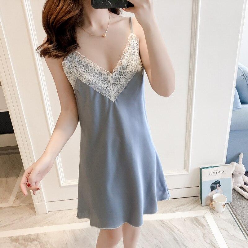 Summer Women Mini Nightdress Sexy Nightwear   Nightgown   Rayon Satin Sleepwear   Sleepshirt   Deep V-Neck Home Dress Nightie M L XL