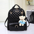 Plaid Leather Backpack 2016 Preppy Style Schoolbag With Bear Pendant For Teenagers Women Young People And School Backpack