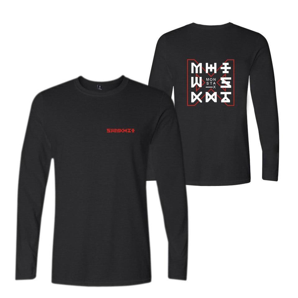 Monsta x kpop shirt supportive fans o neck long sleeve monsta x t shirt women men summer fashion causal tshirt plus size xxs-4xl